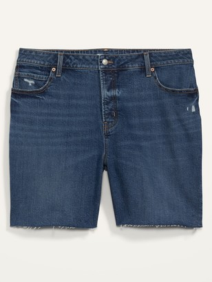 Old Navy Extra High-Waisted Secret-Slim Pockets Sky Hi Button-Fly Plus-Size Jean Shorts -- 7-inch inseam