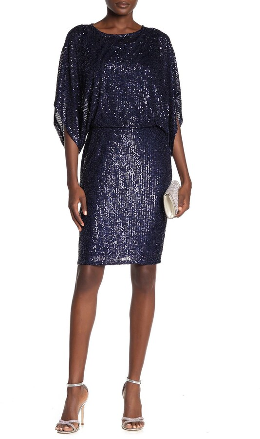 Marina Sequin Blouson Wide Sleeve Sheath Dress
