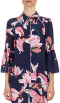 Erdem Aran Floral-Print Pajama Top, Navy/Pink