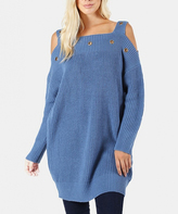 Jane Blue Mist Eyelet-Accent Cold-Shoulder Top