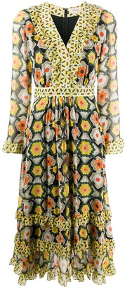 Temperley London Crochet-Print V-Neck Dress