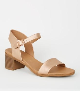 New Look Leather-Look Low Block Heel Sandals