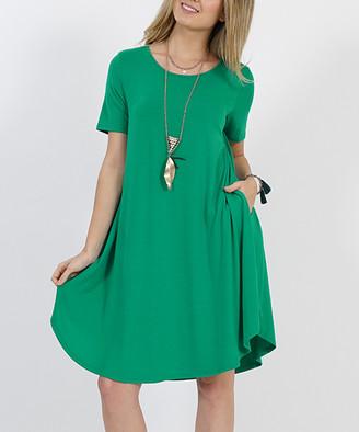Lydiane Women's Casual Dresses K.GREEN - Kelly Green Crewneck Short-Sleeve Curved-Hem Pocket Tunic Dress - Women