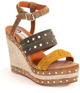 Lanvin Studded Suede Espadrille Wedge Sandals