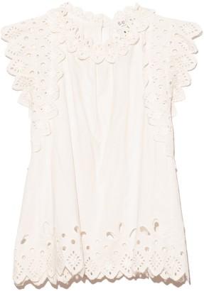 Sea Hazel Eyelet Flutter Sleeve Top in White