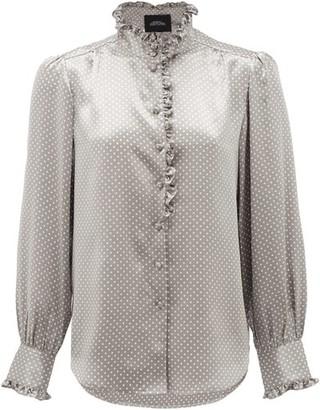 Marc Jacobs Runway - Ruffled Polka-dot Silk-satin Blouse - Womens - Grey Multi