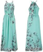 Ensnovo Womens Bohemia Floral Chiffon Long Dress Summer Beach Maxi Dress , 4X Plus