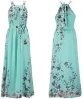 Ensnovo Womens Bohemia Floral Chiffon Long Dress Summer Beach Maxi Dress , L