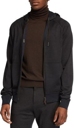 Ermenegildo Zegna Men's Solid Full-Zip Hoodie