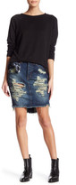 One Teaspoon Distressed Tiger Jean Skirt