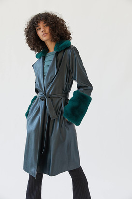 Blank NYC Faux Fur Trim Trench Coat Jaded