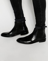 Dune Chelsea Boot In Black Leather