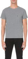 Saint Laurent Logo-embroidered cotton-jersey t-shirt