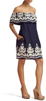 ECI Women's Embroidered Off The Shoulder Dress