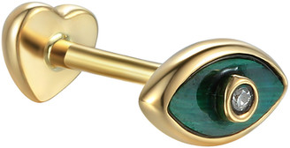Pamela Love Diamond Malachite Inlay Eye Single Thread Through Stud Earring - Yellow Gold