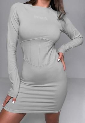 Missguided Gray Corset Waist Dress