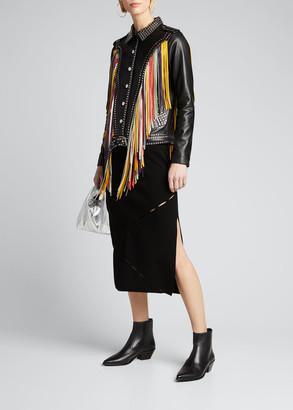 Dan Cassab Geovana Fringe and Stud Leather Jacket