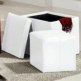 Inspire Q Swayne White Storage Ottoman with Mini