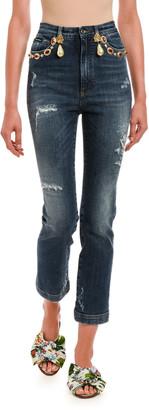Dolce & Gabbana Embellished Cropped Jeans