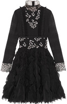 Giambattista Valli Ruffled Guipure Lace-trimmed Silk-chiffon Dress - Black