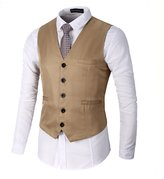 AOQ Men's Casual Slim Fit Business Suit Vests Waistcoat for Suit or Tuxedo (M, )
