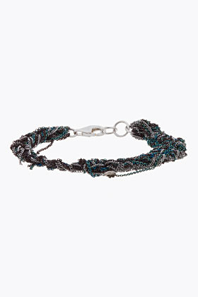 ARIELLE DE PINTO Green and silver braided microchain Tennis Bracelet