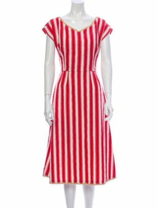 Dolce & Gabbana Striped Midi Length Dress Red