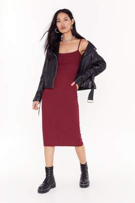 Nasty Gal Womens Everything is Not What Slit Seems Midi Dres - red - 10