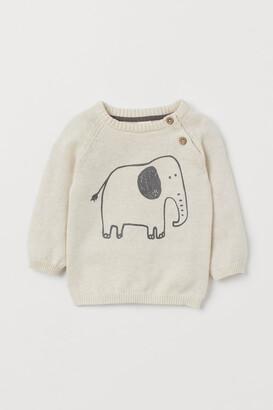 H&M Knitted print-motif jumper