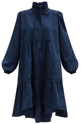 ÀCHEVAL PAMPA Campo Ruffle-neck Cotton-blend Dress - Navy