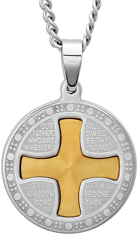 JCPenney FINE JEWELRY Mens Lord's Prayer Two-Tone Stainless Steel Pendant Necklace