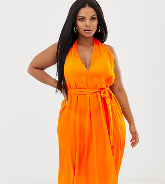 Asos DESIGN Curve halter neck beach cover up in orange-Multi