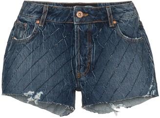 Filles a papa Crystal-Embellished Cut-Off Denim Shorts