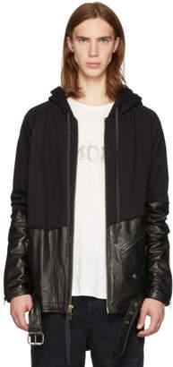 Greg Lauren Black 50/50 Leather/Jersey Hoodie