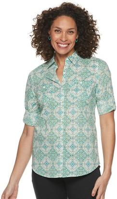 Croft & Barrow Women's Button Front Roll-Tab Shirt