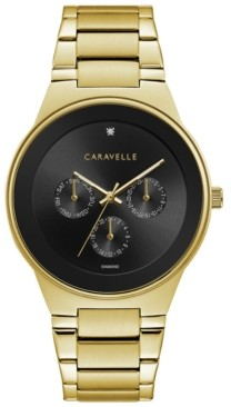 Bulova Caravelle Designed by Designed by Men's Diamond-Accent Gold-Tone Stainless Steel Bracelet Watch 40mm