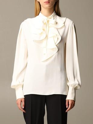 Alberta Ferretti Shirt Silk Chiffon Shirt With Rouches