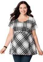 Motherhood Plus Size Short Sleeve Scoop Neck Zipper Detail Maternity Top