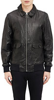 Barneys New York MEN'S LEATHER ZIP-FRONT JACKET-BLACK SIZE S