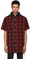 mastermind WORLD Reversible Red and Black Check Hooded Shirt