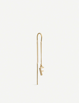 Rachel Jackson Art Deco Initial 'F' 22ct yellow gold-plated sterling silver threader earring