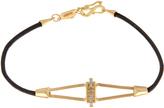 Monique Péan Diamond, yellow-gold & leather bracelet