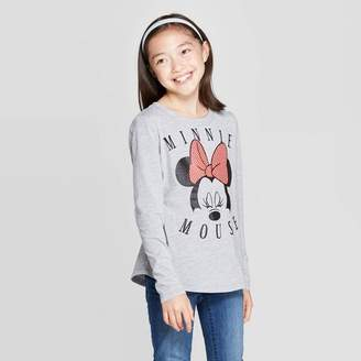 Mickey Mouse & Friends Girls' Minnie Mouse Face Long Sleeve T-Shirt - Heather Gray