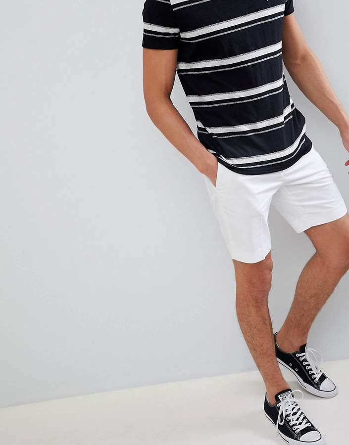 Asos Design DESIGN slim mid length smart shorts in white cotton sateen