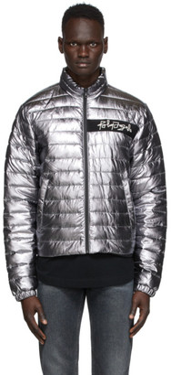 Palm Angels Silver Metallic Quilted Jacket