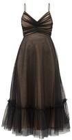Zimmermann Wavelength Ruched Polka-dot Tulle Midi Dress - Womens - Black