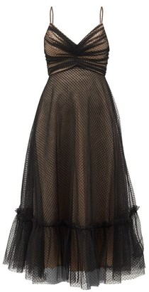 Zimmermann Wavelength Ruched Polka-dot Tulle Midi Dress - Black