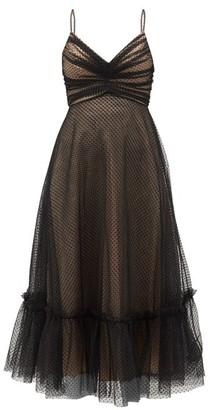 Zimmermann Wavelength Ruched Polka-dot Tulle Midi Dress - Black