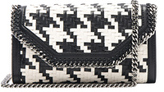 Stella McCartney Falabella Box Eco Alter Houndstooth Weave Clutch in Black,White,Checkered & Plaid.
