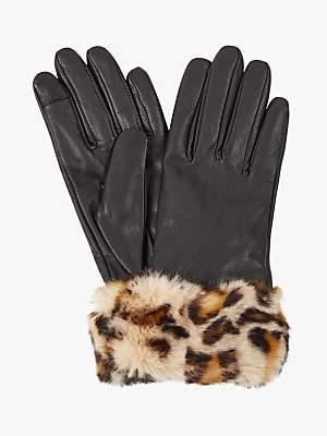 Hobbs Camilla Leopard Print Faux Fur Trim Leather Gloves, Black/Brown